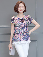 cheap -Women's Going out Club Sexy Chinoiserie Sophisticated Spring Fall Blouse,Floral Round Neck Short Sleeve Spandex Thin