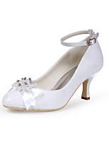 Недорогие -Для женщин Обувь Шёлк Весна Лето Туфли лодочки Свадебная обувь На конусовидном каблуке Закрытый мыс Стразы Бант Искусственный жемчуг для