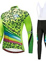 abordables -CYCOBYCO Maillot de Ciclismo con Mallas Bib Mujer Manga Larga Bicicleta Pantalones/Sobrepantalón Camiseta/Maillot Medias/Mallas Largas