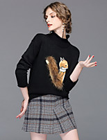 cheap -EWUS Women's Going out Street chic Winter Fall Sweater Skirt SuitsAnimal Print Stand Long Sleeve Fur Trim Knitting Polyester Stretchy