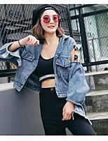 economico -Giacca di jeans Da donna Quotidiano Casual Autunno,Tinta unita Squadrata Cotone Corto Maniche lunghe