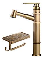 Недорогие -Ар деко/ретро По центру Широко распространенный Керамический клапан Одной ручкой одно отверстие Античная медь , Ванная раковина кран
