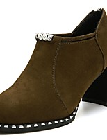 cheap -Women's Shoes PU Spring Fall Comfort Boots High Heel for Outdoor Army Green Black