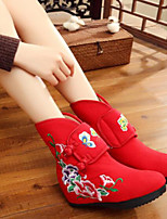 cheap -Women's Shoes Fabric Winter Comfort Boots Flat Round Toe Closed Toe Mid-Calf Boots for Casual Red Black