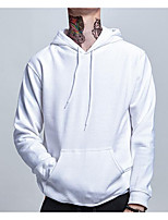 cheap -Men's Going out Casual/Daily Hoodie Solid Hooded Micro-elastic Polyester Long Sleeves Winter Fall