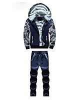 cheap -Men's Going out Casual/Daily Simple Hoodie Color Block Hooded Micro-elastic Polyester Long Sleeve Winter Fall