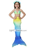 cheap -The Little Mermaid Skirt Swimwear Bikini Kid Christmas Masquerade Festival / Holiday Halloween Costumes Yellow Red Purple Color Block