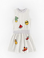 Girl's Casual/Daily Print Dress,Polyester Winter Fall Sleeveless Simple White