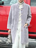 Недорогие -Для женщин Повседневные Зима Осень Пальто с мехом V-образный вырез,На каждый день Однотонный Короткая Длинные рукава,Искусственный мех