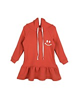 Girl's Casual/Daily Solid Dress,Polyester Winter Fall Long Sleeves Simple Orange