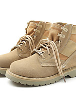 cheap -Women's Shoes Cowhide Spring Fall Comfort Combat Boots Boots Chunky Heel Booties/Ankle Boots for Casual Camel