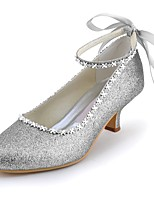 cheap -Women's Shoes Sparkling Glitter Spring Summer Basic Pump Wedding Shoes Low Heel Pointed Toe Closed Toe Rhinestone Sparkling Glitter for
