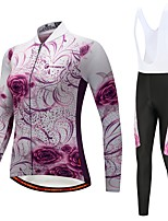 cheap -Cycling Jersey with Bib Tights Women's Long Sleeves Bike Bib Tights Tights Pants / Trousers Jersey Top Clothing Suits Winter Fleece Bike