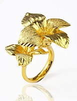 cheap -Men's Women's Cuff Ring Statement Rings  Floral Oversized Statement Jewelry Gold Plated Flower Jewelry Party Club