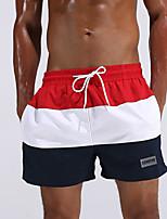 cheap -Men's Striped Color Block Sexy Fashion Bottoms Swimwear,Polyester Red Green