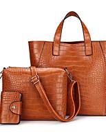 cheap -Women Bags PU Bag Set 3 Pcs Purse Set Zipper for Casual Outdoor Spring Fall Khaki Wine Brown Black