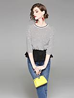 cheap -EWUS Women's Holiday Street chic Spring Summer ShirtPrint Round Neck  Sleeve Silk Polyester