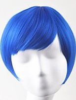 cheap -Synthetic Hair Wigs Straight Cosplay Wig Short Blue