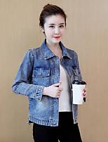 cheap -Women's Daily Going out Casual Fall Denim Jacket,Print Shirt Collar Long Sleeve Regular Cotton Oversized