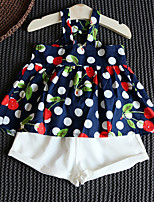 cheap -Girls' Floral Clothing Set, Cotton Summer Sleeveless Navy Blue