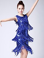 cheap -Latin Dance Dresses Women's Performance Tulle Tassel Sleeveless Natural Dress