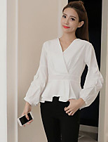 cheap -Women's Others Street chic Shirt,Solid V Neck Long Sleeves Cotton
