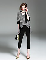 cheap -EWUS Women's Daily Going out Vintage Street chic Spring Summer ShirtStriped V Neck  Length Sleeve Polyester Medium