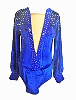 cheap -Figure Skating Top Boys' Ice Skating Top Blue Spandex Stretchy Beginner Professional Skating Wear Creative Rhinestone Classic Long Sleeves