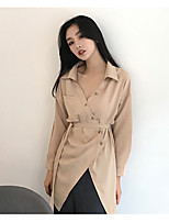 cheap -Women's Casual/Daily Street chic Shirt,Solid V Neck Long Sleeves Polyester