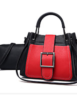 cheap -Women Bags PU Bag Set 2 Pieces Purse Set Buttons Zipper for Formal Office & Career Spring Fall Brown Yellow Red Black Green