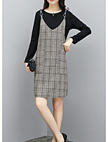 cheap -Women's Casual/Daily Simple Winter Set Dress Suits,Solid Round Neck Long Sleeves Polyester