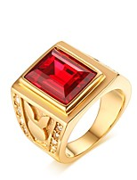 cheap -Men's Band Ring Synthetic Ruby Vintage Elegant Gemstone Gold Titanium Circle Costume Jewelry Wedding Daily Ceremony