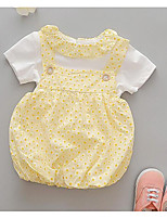 cheap -Baby Girls' Daily Solid Polka Dot Clothing Set,Polyester Summer Street chic Short Sleeve Green White Blushing Pink Yellow