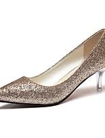 preiswerte -Damen Schuhe Kunstleder Frühling Herbst Komfort High Heels Stöckelabsatz Spitze Zehe für Hochzeit Party & Festivität Gold Schwarz Silber