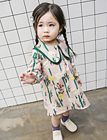cheap -Girl's Daily Solid Floral Dress,Cotton Bamboo Fiber Spandex Spring Long Sleeves Vintage Blushing Pink