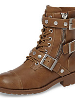 cheap -Women's Shoes PU Winter Fall Comfort Novelty Fashion Boots Boots Low Heel Pointed Toe Mid-Calf Boots Rivet Buckle for Office & Career