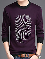 cheap -Men's Casual/Daily Sweatshirt Print Round Neck Micro-elastic Polyester Long Sleeves Winter Fall