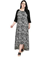 Cute Ann Women's Party Going out Vintage Casual Boho Loose Swing Kaftan Dress,Print Patchwork Round Neck Maxi 3/4 Sleeve Polyester Spandex All