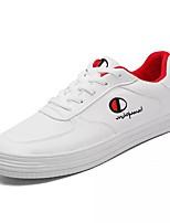 Недорогие -Для мужчин обувь Искусственное волокно Дерматин Полиуретан Весна Осень Удобная обувь Кеды для Повседневные Красный Белый/синий