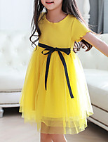 cheap -Girl's Daily Solid Dress,Cotton Summer Short Sleeves Cute Yellow