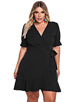 cheap -Women's Party Club Sexy Sheath Dress,Solid V Neck Knee-length Half Sleeve Polyester Elastane Fall High Waist Micro-elastic Opaque