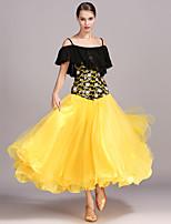 preiswerte -Für den Ballsaal Kleider Damen Aufführung Chiffon Spitze Kunst-Seide Gefaltet Kurze Ärmel Hoch Kleid