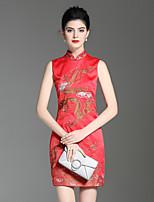 Недорогие -Для вечеринок Праздники Шинуазери (китайский стиль) Изысканный А-силуэт Оболочка Платье Цветочный принт,Воротник-стойка Выше колена Без