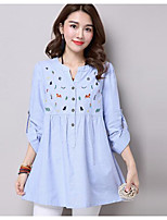 cheap -Women's Holiday Vintage Autumn Summer Shirt,Color Block Embroidery Round Neck Long Sleeves Cotton Medium