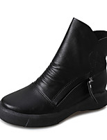 cheap -Women's Shoes PU Winter Fashion Boots Comfort Boots Round Toe Booties/Ankle Boots for Casual Black Brown