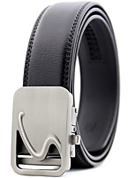cheap -Men's Genuine Leather Alloy Waist Belt,Black Work Casual Solid Stylish