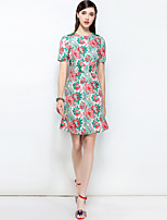 cheap -MARY YAN&YU Women's Party Going out Cute Boho Street chic A Line Above Knee Dress,Floral Print Round Neck Short Sleeve Spring Summer