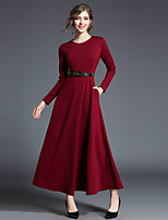 cheap -MAXLINDY Women's Party Going out Vintage Street chic Sheath Swing DressSolid Round Neck Maxi Long Sleeve Cotton Polyester Winter Fall High Waist