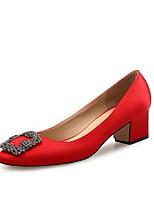 Недорогие -Жен. Обувь Лак Шёлк Весна Осень Удобная обувь Обувь на каблуках На толстом каблуке Стразы для Свадьба Для праздника Черный Красный Синий