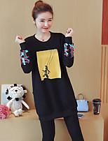 preiswerte -Damen Druck Street Schick Lässig/Alltäglich T-shirt,Rundhalsausschnitt Langarm Baumwolle